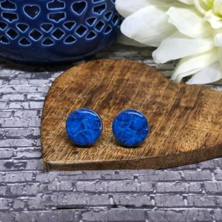 Wood & Resin Stud Earrings 15mm