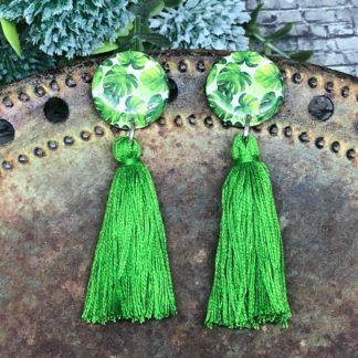 Wood & Resin Tassel Earrings