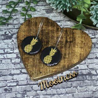 Wood & Resin Drop Earrings 25mm