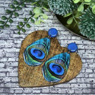 Wood & Resin Large Stud Drop Earrings